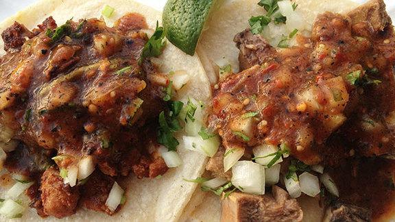 Pollo asado tacos at El Tonayense Taco Truck
