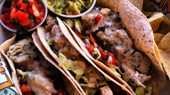 Fresh grilled fish tacos at Lime Fresh Grill