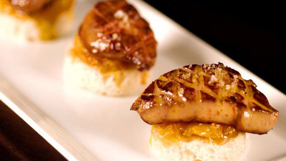 Foie gras crostini w/ caramelized oranges & fleur de sel at Timo