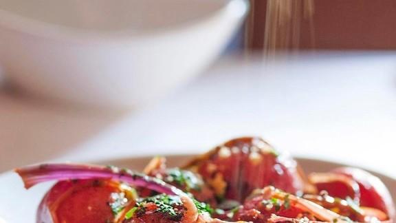 Garlic, onion, slab bacon, chicken broth, radishes and wine at
