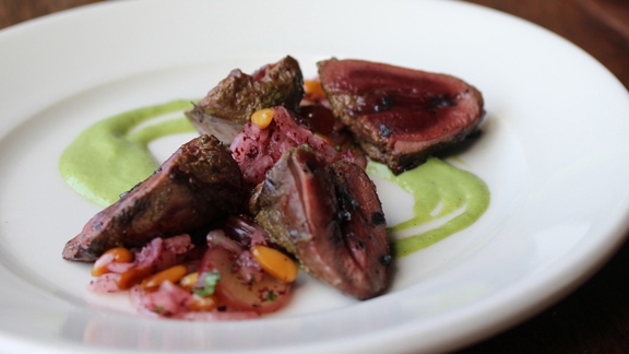 Grilled duck hearts at Zahav