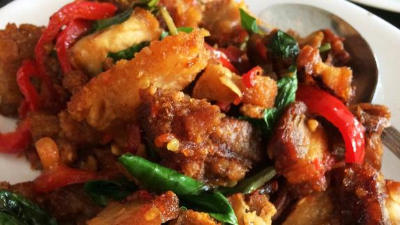 C-16: Sautéed crispy pork belly at SriPraPhai Thai Restaurant