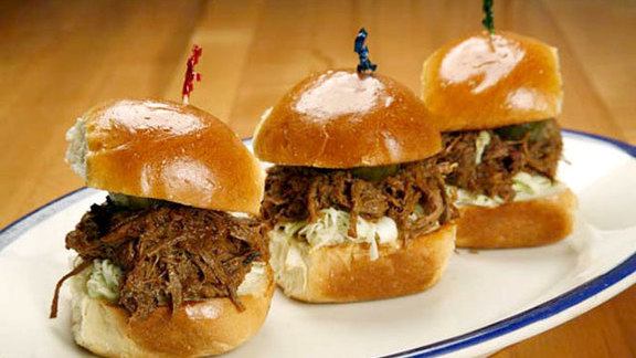 Chopped brisket sliders at The Porch