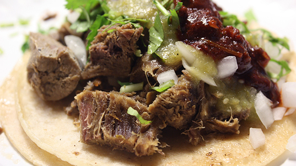 Lengua tacos at La Nueva Fresh & Hot Tortilleria