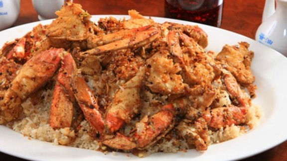 Chef Jim Severson reviews Jumbo crab in spicy garlic sauce at