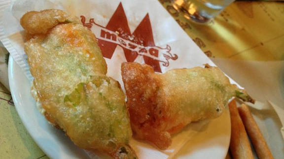 Fried zucchini blossoms with ricotta at Pizzeria Mozza