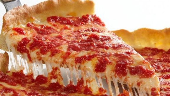 Deep-dish pizza at Lou Malnati's Pizzeria