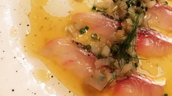 Chef Ethan Speizer reviews Snapper crudo at Compère Lapin