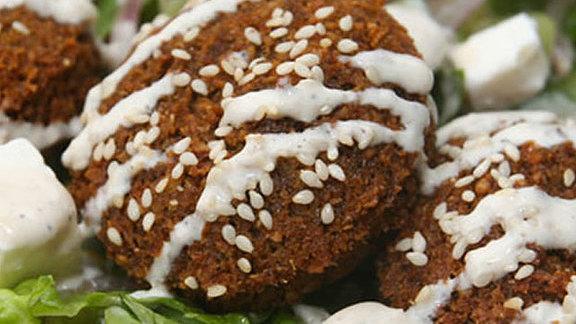Falafel sandwich at Aybla Grill (Mediterranean Cart)