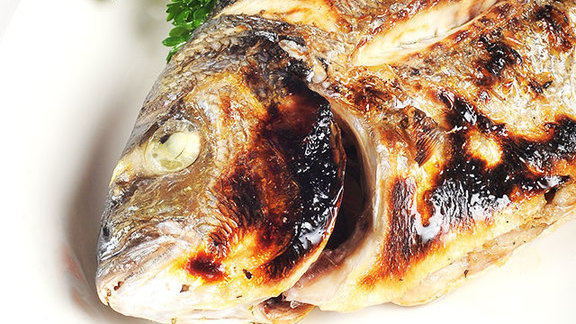 Whole roasted fish at Greek Islands