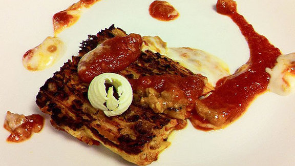Yesterday's 100 layer lasagna alla piastra at Del Posto