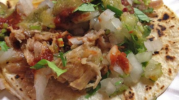 Carnitas & beef tongue tacos at Ricos Tacos