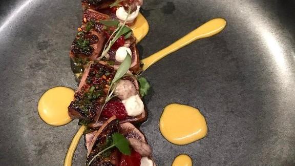 Tuna tataki, foie gras, walnuts, & strawberry at UNI