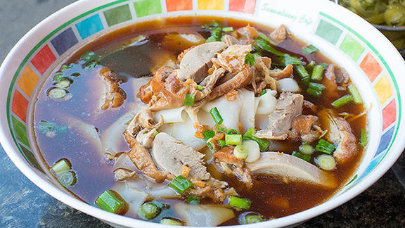 Roasted duck noodle soup at Sanamluang Cafe