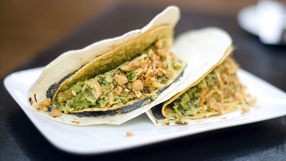 Chef Chaz Brown reviews Double decker broccoli tacos at