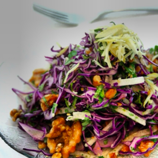 Chef Alex Alioto reviews Cabbage and walnut salad at
