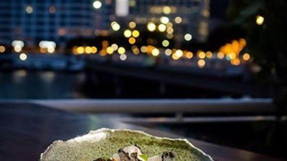 Chef Diego Oka reviews Parmesan cheese, leche de tigre, colatura, basil oil, fake fish skin and garlic chips at La Mar by Gaston Acurio at Mandarin Oriental, Miami
