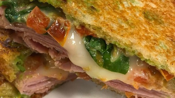 Chef William Kovel reviews Smoked ham, taleggio, basil and tomato jam sandwich at Catalyst Restaurant