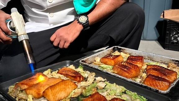 Black cod on a bed of lettuce at Lee
