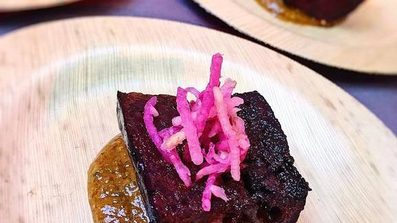 Smoked Morcilla & Ramp Green Romesco with Watermelon Radish at The Butcher & Larder