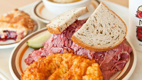 Hot pastrami sandwich at Manny's Cafeteria & Delicatessen