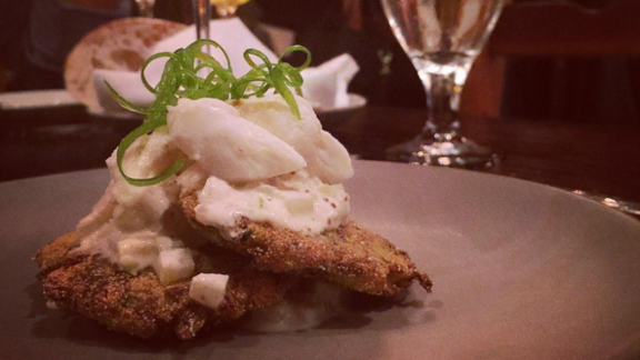Squash latkes with crab and asian pear at Coquette