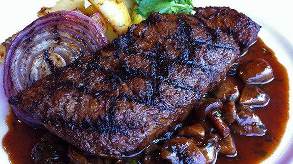 Ancho marinated skirt steak at Prairie Grass Cafe