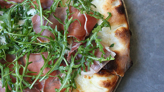 Prosciutto pie at Pizzeria Delfina
