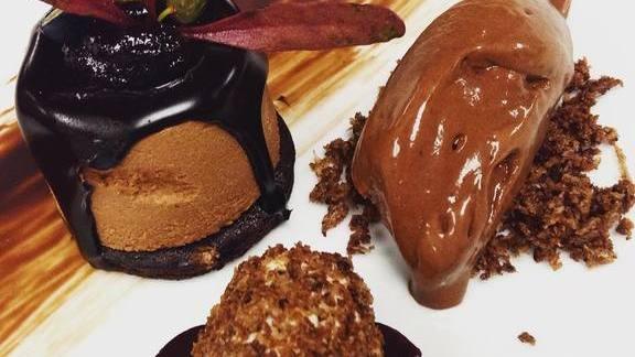 Dark ciocco, cocoa dessert trio at Drago Centro