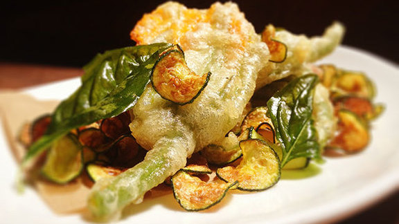 Bellwether ricotta-stuffed squash blossoms at Delfina