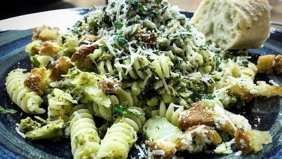 Fusilli, long cooked broccoli, fried breadcrumbs, pecorino, mint at The Meatball Shop