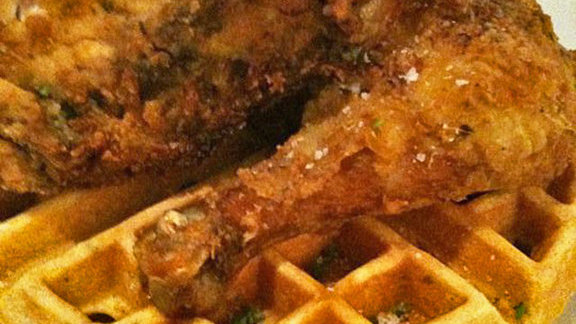 Fried chicken & buttermilk waffles at Trina's Starlite Lounge