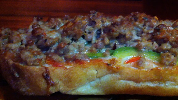 San Gennaro French bread pizza at Brooklyn Bowl