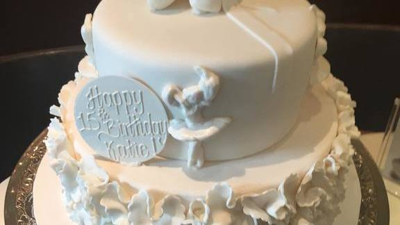 Ballerina birthday cake at La Duni Latin Kitchen & Coffee Studio