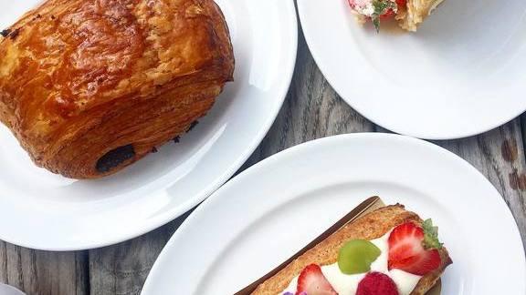 Croissant, crepe cake at Bellecour