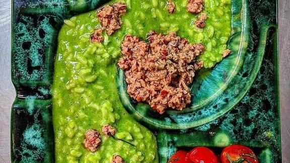 Vegan herb risotto, walnut pesto, tomato salad at Le Kitchen