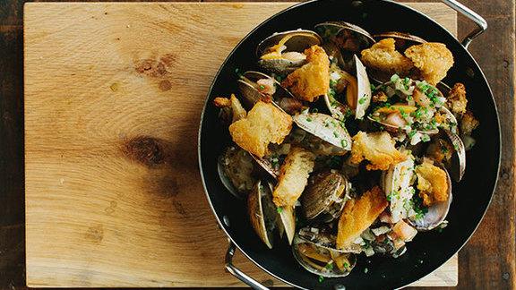 Garlicky tiny clams & pork belly at The Optimist