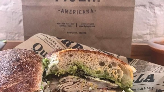 Turkey sandwich, bacon aioli, avocado, stecca, greens at Figlia Americana