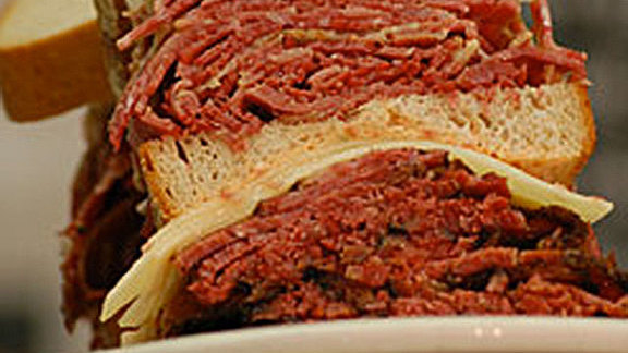 Hot pastrami sandwich at Famous 4th Street Delicatessen