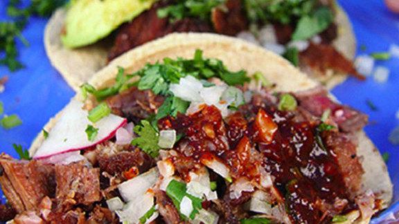 Carnitas & chorizo tacos at El Jarocho