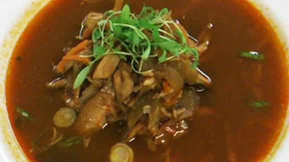 Vegetable soup w/ duck confit at Rouge