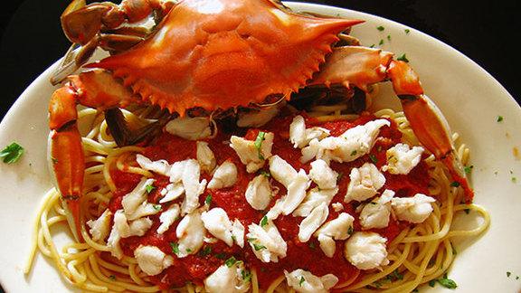 Crabmeat & spaghetti at Bomb Bombs Italian Restaurant
