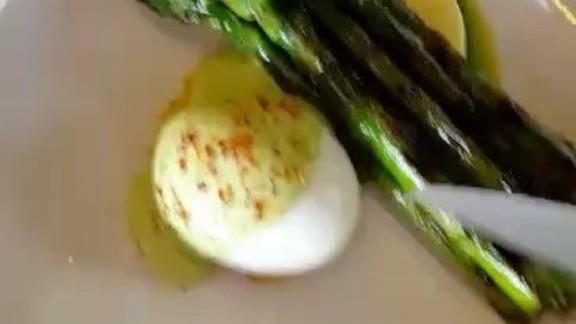Grilled asparagus, parmesan flan, basil ricotta, lemon, poached egg at Manhattan Beach Post