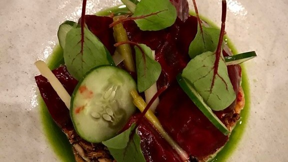 Chef Trey Foshee reviews Cucumber, spinach leaves and beets at Senia