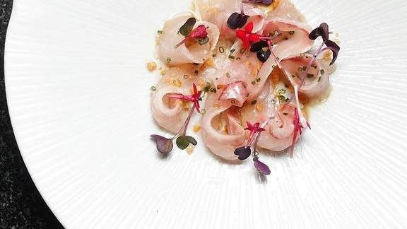 Chef Tony Messina reviews Suzuki sashimi with maguro shirodashi, garlic soy, and lemongrass oil at UNI