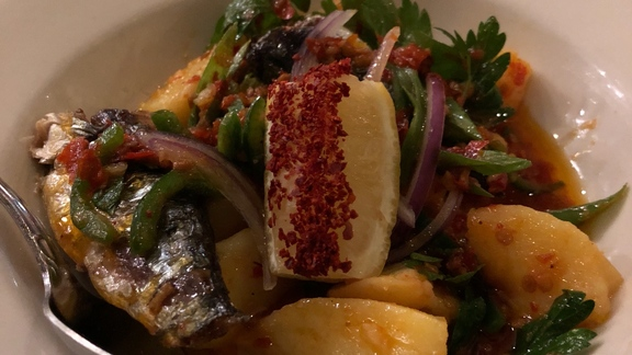 Chef Jamie Bissonnette reviews Sardines escabeche at Fat Rice