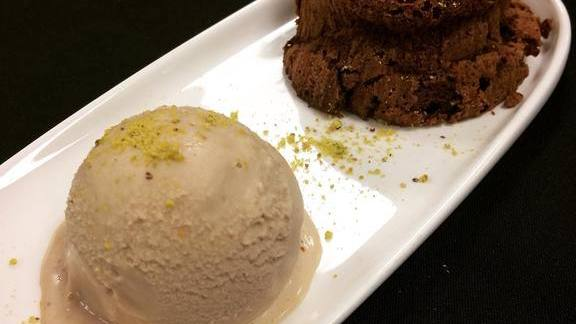 Garam masala chocolate cake and ice cream at Mantra Artisan Ales