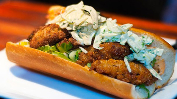 "Chef Kurt Dammeier reviews Fried oyster ""po boy"" at"