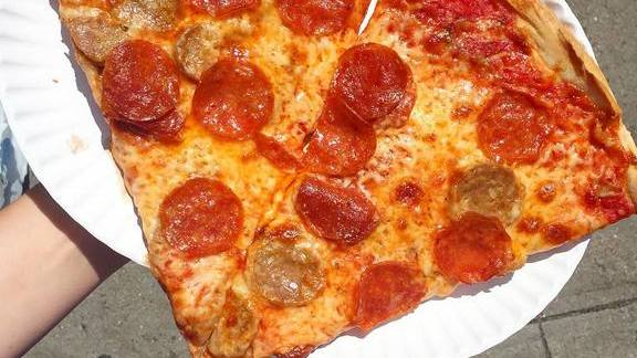 Pepperoni sausage pizza at Bleecker Street Pizza
