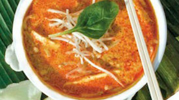 Laksa soup at Singapore's Banana Leaf